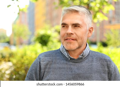 Portrait of handsome mature man in park. Space for text