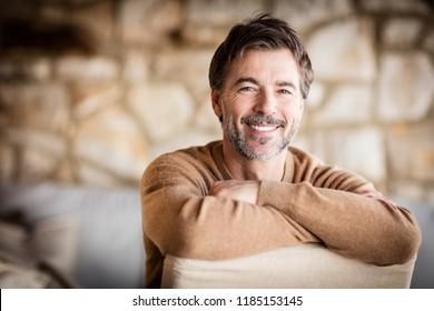 Portrait Of A Handsome Mature man smiling.