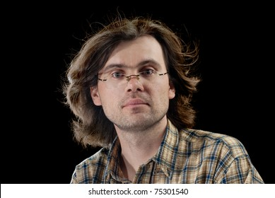 Portrait of handsome men with long hair. Isolated on black background.