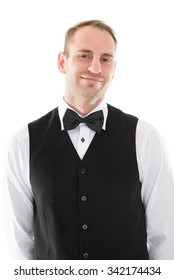 Portrait of handsome mid adult waiter isolated over white background
