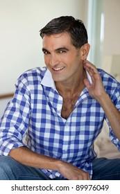 Portrait of handsome middle aged man smiling
