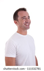 Portrait of a handsome middle-age man smiling, on white background. Studio shot