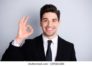 Portrait handsome millennial entrepreneur real estate agent feel rejoice enjoy confident stylish have adverts decide choose recommend feedback dressed modern stylish outfit isolated grey background