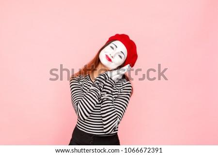 4ebfa5cff9c Portrait Handsome Mime Woman Sleeping Clown Stock Photo (Edit Now ...