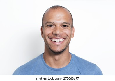 Portrait of a handsome mixed race man smiling to camera