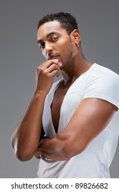 Portrait of a handsome muscular man