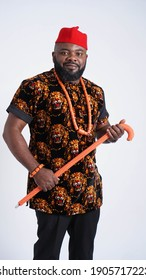 Portrait of handsome Nigerian man dressed in traditional Igbo attire