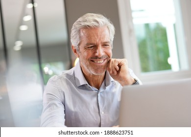 Portrait d'un bel homme d'affaires expérimenté travaillant sur un ordinateur portable