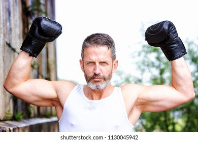 portrait of handsome sexy boxer in victory pose