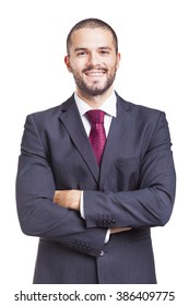Portrait of a handsome smiling business man, isolated on a white background