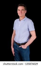 Portrait of Handsome Smiling Happy Middle Age Man Black Background