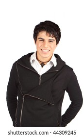 Portrait of a handsome smiling hispanic teenager