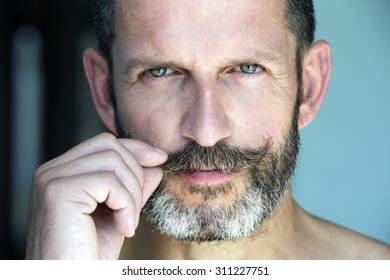 portrait of a handsome smiling man with beard