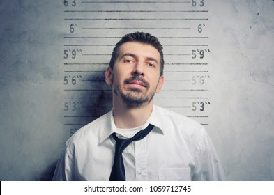 Portrait of a handsome, stylish bearded businessman posing for a mugshot