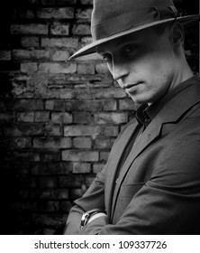 Portrait of a handsome stylish man with a hat