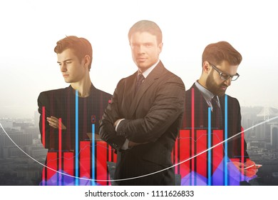 Portrait of handsome thoughtful young european businessmen on bright city background. Teamwork and communication concept. Double exposure