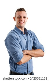 Portrait of an handsome workman isolated on white