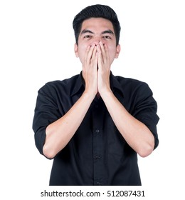 Portrait Handsome young asian man wearing a black shirt stressed isolated on white background. Businessman concept.  Asia poeple.