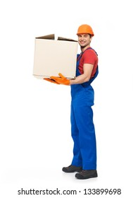 Portrait of  handsome young delivery man with paper boxes isolated on white background