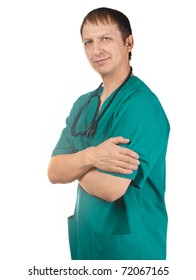 Portrait of a handsome young doctor with crossed arms, isolated on white background