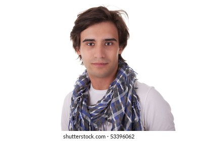 Portrait of a handsome young man, looking to camera, on white background. Studio shot