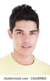 Portrait of a handsome young man on white background. Studio shot.