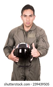 portrait of handsome young pilot wearing green uniform holding helmet isolated on white