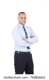 portrait of happy adult employee with folded arms. Isolated on white background.