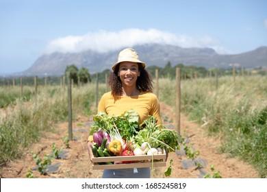 Portrait d'une femme afro-américaine heureuse, debout dans un champ de culture, portant une boîte de légumes bio frais. Famille profitant du temps à la maison, concept de style de vie