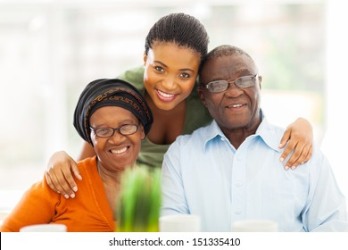 portrait of happy african family at home