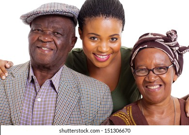 portrait of happy african family on white background