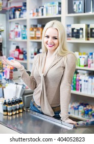 Portrait of happy american store clerk at household and cosmetic shop