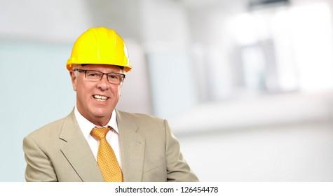 Portrait Of Happy Architect Man, Indoors