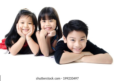 portrait of happy asian boy and girl having fun isolate on white background .