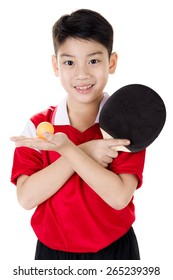 Portrait of Happy asian boy play table tennis isolated on white background