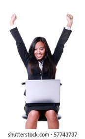 portrait of a Happy Asian businesswoman celebrating her victory isolated