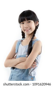 Portrait of Happy Asian child girl smiling isolated on white background