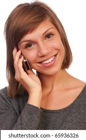 Portrait of a happy beautiful teenage girl holding a mobile
