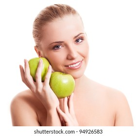 portrait of a happy beautiful woman  holding two apples, isolated against white background