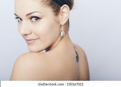Portrait of a happy beautiful women. Studio shot.