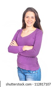 Portrait of Happy Beautiful young Woman in and purple blouse on white background