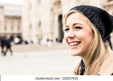 Portrait of a happy blonde woman