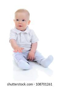 Portrait of a happy blue-eyed child boy. Isolated on white background