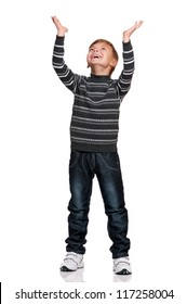 Portrait of happy boy with hands up isolated on white background