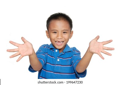 Portrait of a happy boy hands makes funny