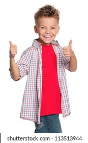 Portrait of happy boy with thumbs up isolated on white background