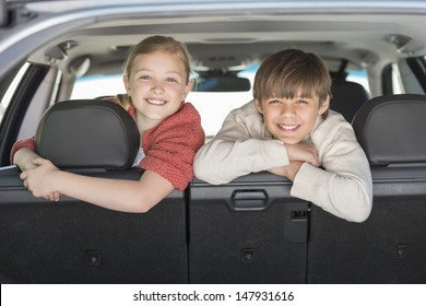 Portrait of happy brother and sister leaning on car seat