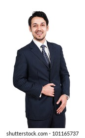 portrait of a happy businessman, biracial businessman isolated on white