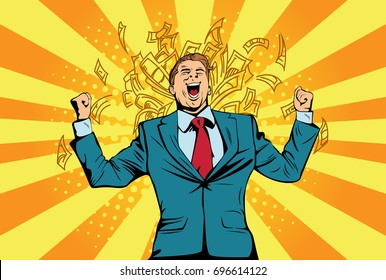 Portrait of a happy businessman standing near a wall with dollar bills falling around him. Financial success man celebrating with money, pop art retro comic book illustration. Lottery and cash prize