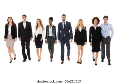 Portrait Of Happy Businesspeople Walking On White Background